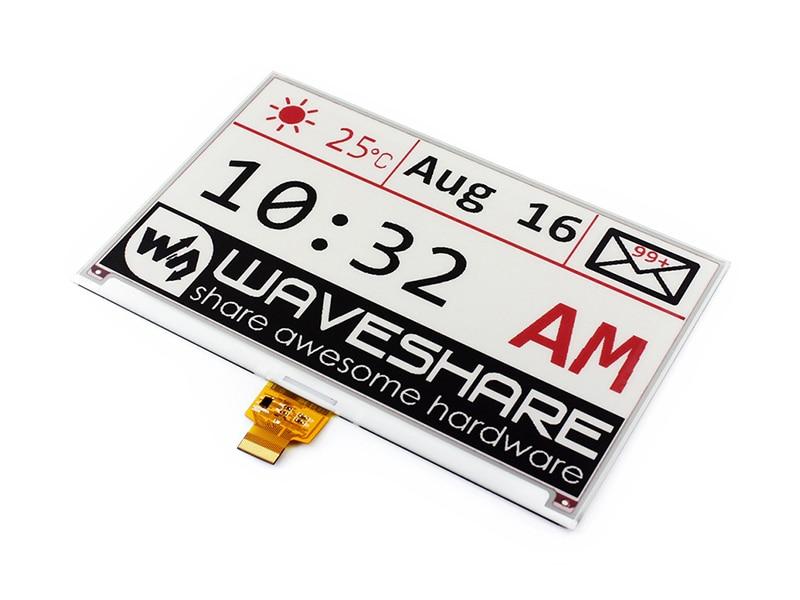 Waveshare 7.5 polegada E Tinta-Raw Display 640x384 E-livro Três-cor: red Black White, SPI Interface, Sem PCB, Sem Luz de Fundo