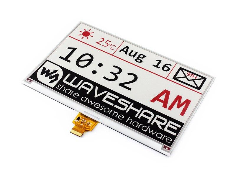 Waveshare 7.5 pouces e-ink Raw Display 640x384 e-paper trois couleurs: rouge noir blanc, Interface SPI, sans carte PCB, pas de rétro-éclairage