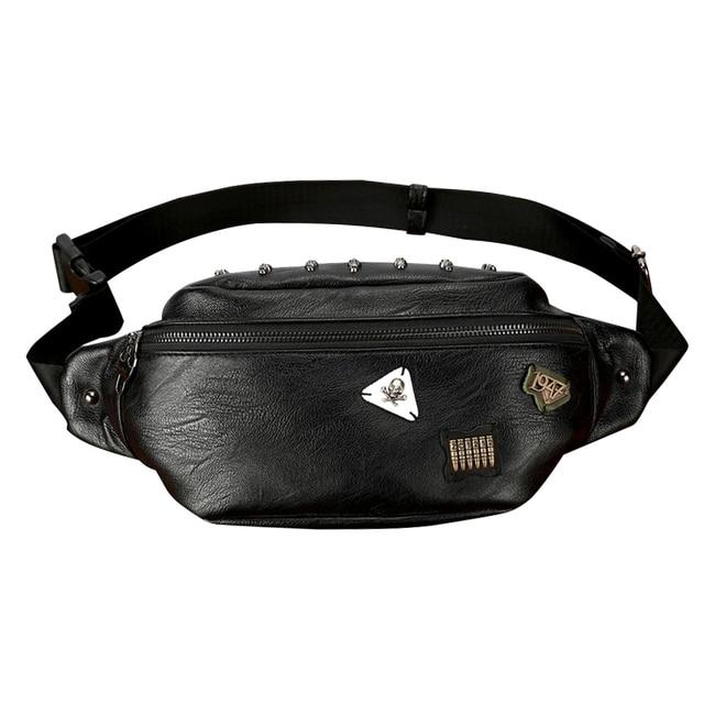 e7d8fc859a9b0 Casual Tide Skull Rivet Badge Waist Bag for Men PU Leather Travel Belt Bag  Black Male Waist Bags Fanny Pack Phone Pocket Bolsa