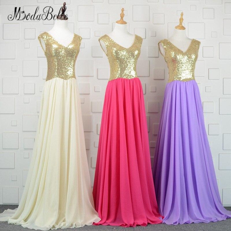modabelle Chiffon Purple Bridesmaid Dresses Sequins Long Champagne Gold Sleeveless Wedding Party Dress Robe de Soiree 2018