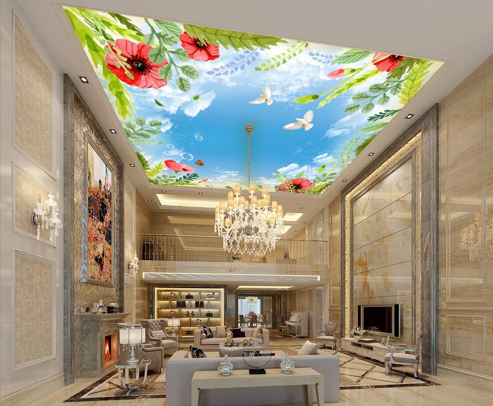 WDBH Custom 3d Ceiling Murals Wallpaper Bird Butterfly White Clouds Home Decor Painting 3d Wall