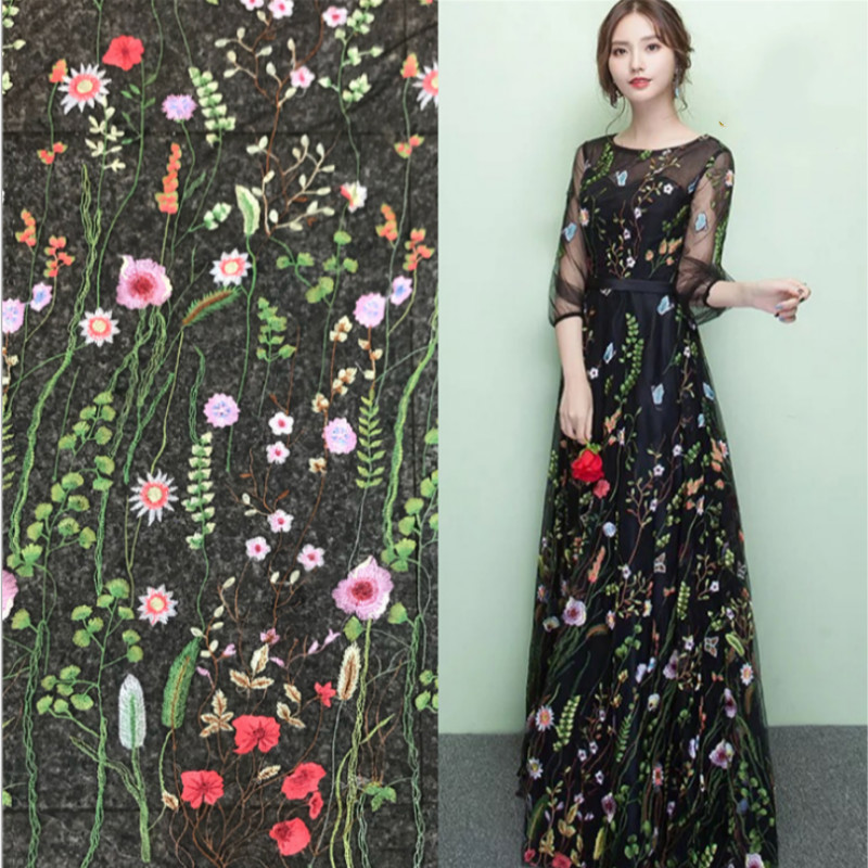 1yard Grass Embroidery Lace Fabric Polyester Women's Dress Embroidered  Fabric