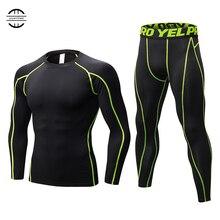 2018 Hot Compression Tracksuit Fitness Tight Crossfit Workout Running Set T-shirt Leggings Men Sportswear Demix Gym Sport Suit