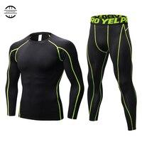 2018 YEL New Compression Tracksuit Fitness Tight Sportswears Running Set T shirt Leggings Men's Sportswear Demix Gym Sport Suit
