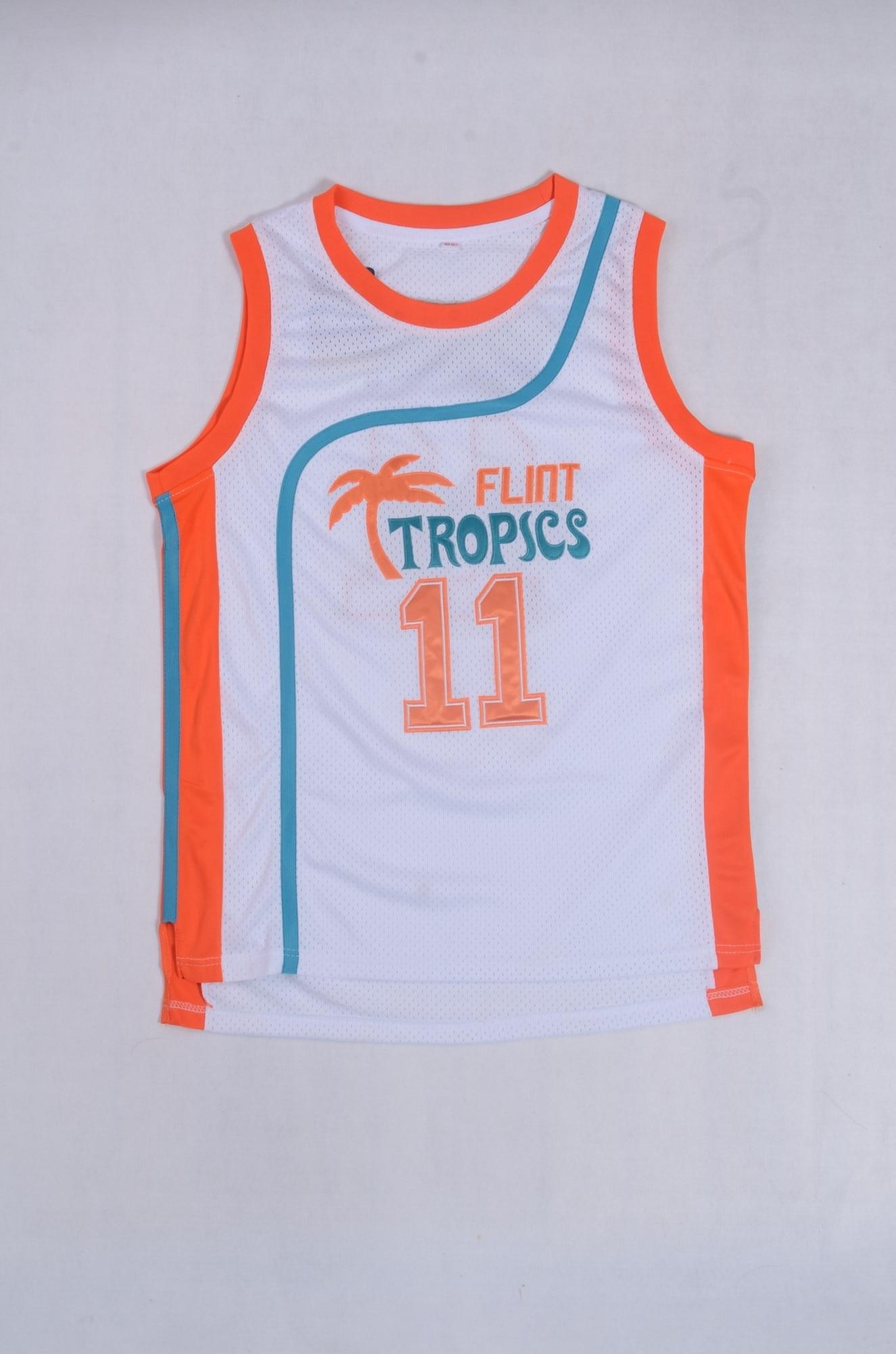 11 ED Monix Jersey Flint Tropics Semi Pro Movie Embroidered White Mens  Basketball Jersey-in Basketball Jerseys from Sports   Entertainment on ... 0efb03da6