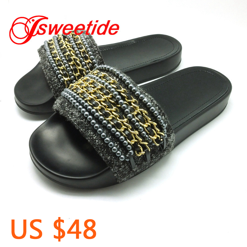 Fashion String Bead Leisure Genuine Leather Womens Slippers Ladies Slip Sliders Casual Brand Comfortable Women Flats