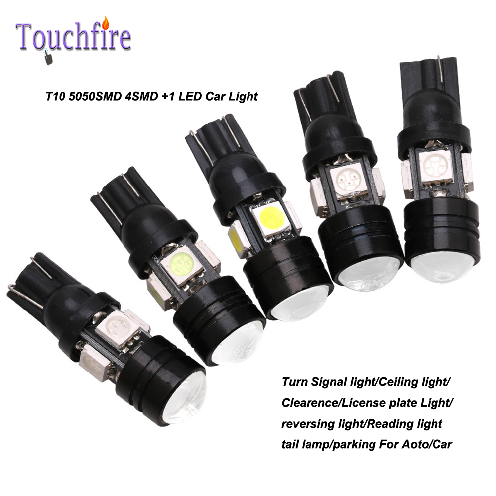 10pcs/lot t10 5050smd 4 led high power canber Bulb Auto Wedge led lights 12v Width Interior Signal brake fog Lighting Car