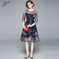 floral embroidery woman summer dress o neck ladies elegant party dresses navy blue slim a line dresses for
