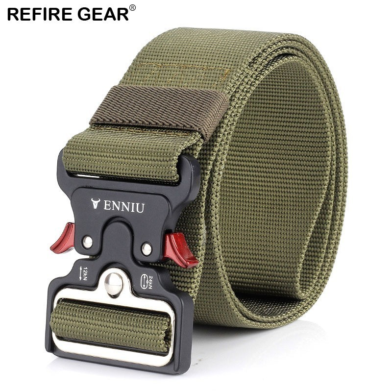 Genteel Refire Gear Heavy Duty Quick Release Outdoor Belt Men Survival Swat Combat Tactical Belts Male Soldier Safety Nylon Belts 5cm Fancy Colours