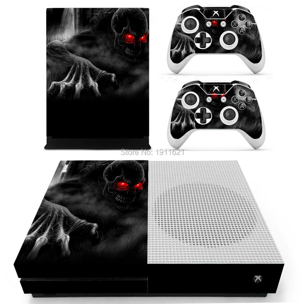 Cool Skull Decal Skin For Xbox One Slim Console Cover For Xbox One S Console Skin Stickers+2Pcs Controller huid Protective Skins