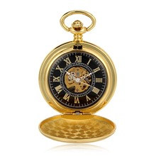Antique Classic Steampunk Watch Golden Roman Numerals Mechanical Hand Wind Mens Pocket Watch Full Hunter Fob Luxury Timepiece