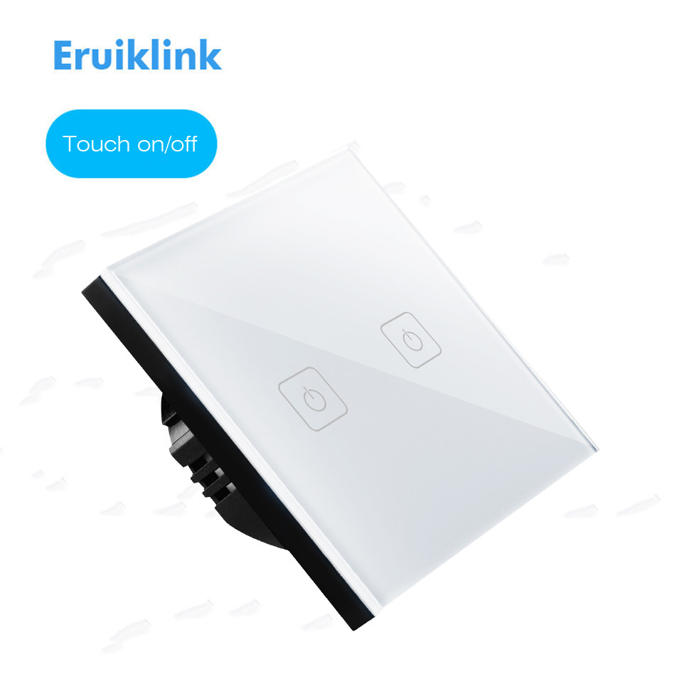 EU/UK Type Eruiklink Touch Switch 1 Gang 2 Gang 3 Gang 1 Way,Crystal Glass Switch Panel, Single FireWire Touch Sense Wall Switch