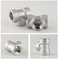 1 1/2 NPT Female 304 Stainless Steel Euqal Tee 3 Way Forged Pipe Fitting 2000 PSI Water Gas Oil