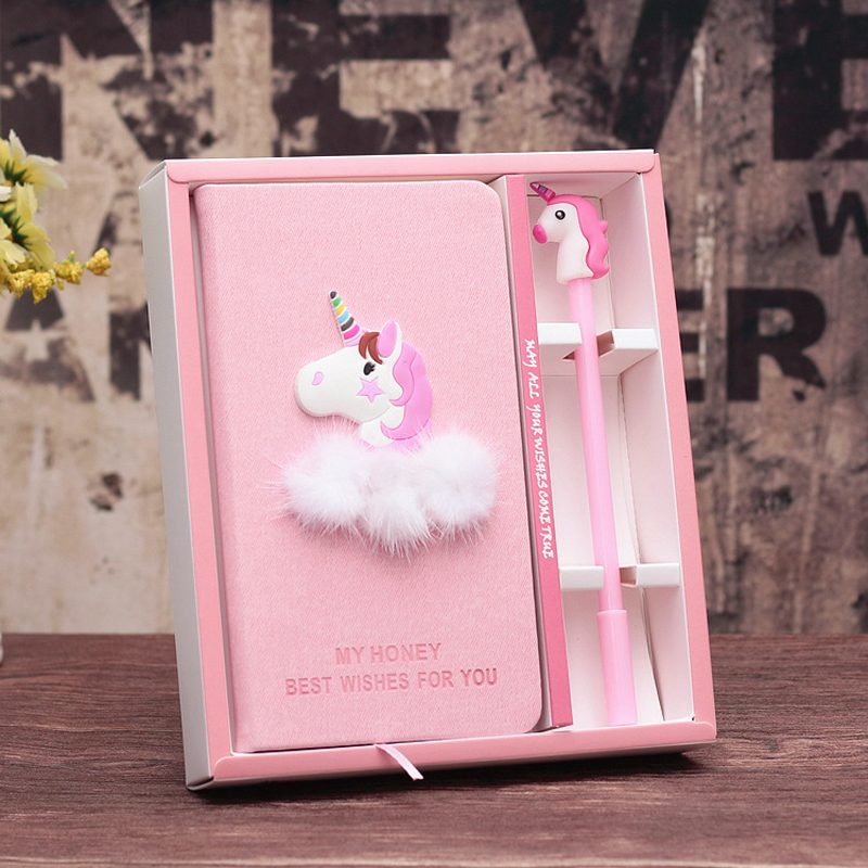 Unicorn Notebook Gift Set Note Book With Pen Set Diary Day Planner Kawaii Journal Stationery School Supplies Study Gift BJB48 rights of the game notebook gift diary note book agenda planner material escolar caderno office stationery supplies gt105
