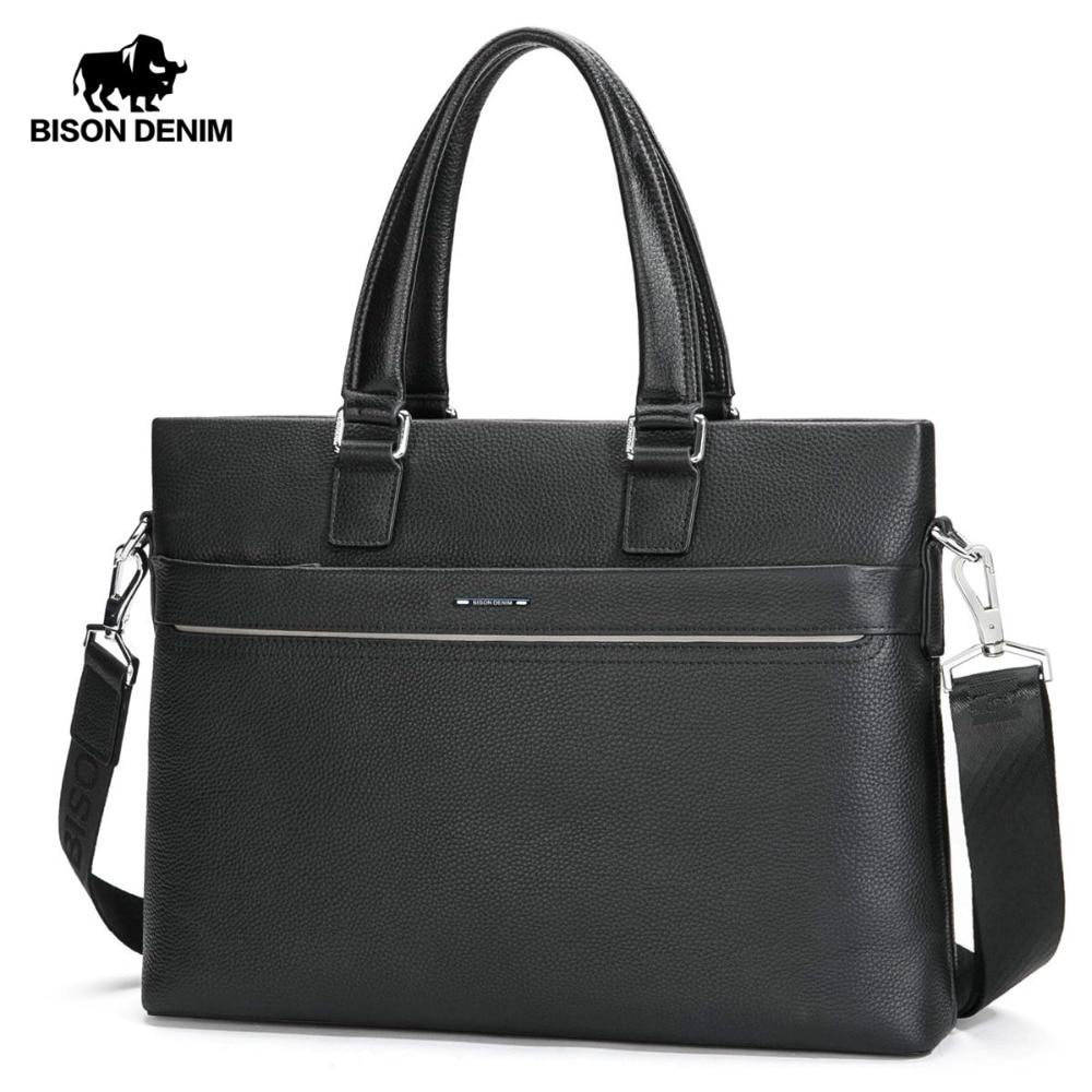BISON DENIM Men Briefcase Shoulder Bags Genuine Leather Cowskin Handbag Large Capacity Laptop Satchel Messenger Bags N2773BISON DENIM Men Briefcase Shoulder Bags Genuine Leather Cowskin Handbag Large Capacity Laptop Satchel Messenger Bags N2773