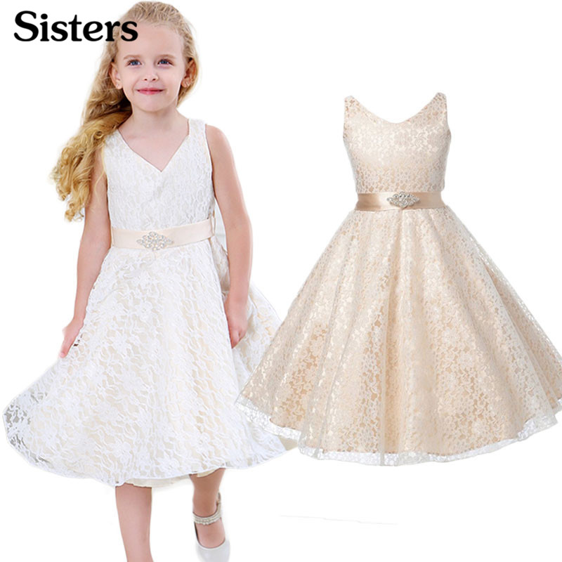 SISRERS Girls party wear clothing for children summer sleeveless lace princess wedding dress girls teenage well party dress 1