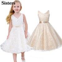 Праздничные платья для девочек; одежда для детей; летнее кружевное свадебное платье принцессы без рукавов; праздничное платье для девочек-п...