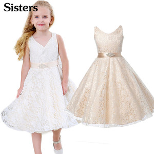 SISRERS Girls party wear clothing for children summer sleeveless lace princess wedding dress girls teenage well party dress(China)