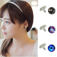 1 Pair Galaxy Starry sky Earrings Fashion Glass Cabochon Vintage Jewelry Stud Silver Earrings for Women Summer Style
