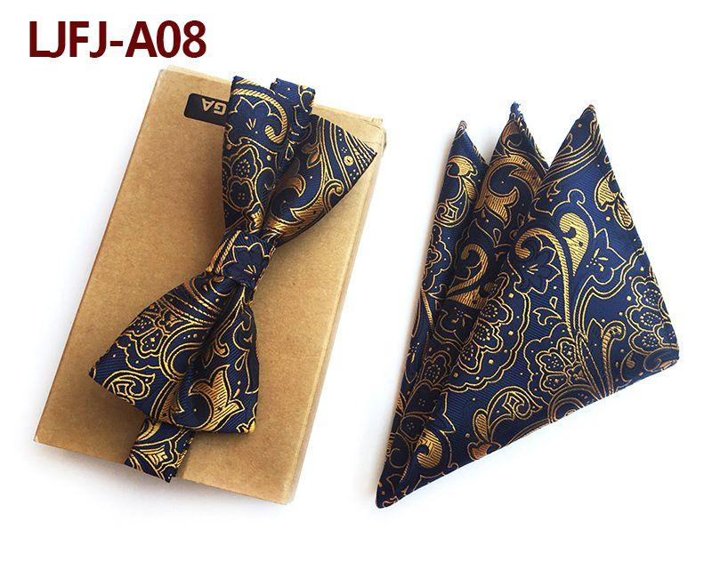 Мужской модный галстук набор полиэфирных шелковых галстуков наборы из двух частей жаккардовые галстуки для мужчин галстук носовой платок галстук-бабочка - Цвет: LJFJ-A08