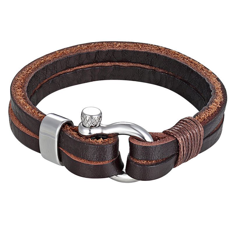 Women Jewelry Men's Bracelets Leather Rope Chain Bracelet Stainless Steel Nautical Survival Rope Chain Bracelet Summer Style
