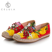 @Cetula 2018 S/S Handcrafted Women Loquat Prints Casual Canvas Espadrilles Ft. Flower&Diamonds Charm Linen Wrapped Outsole