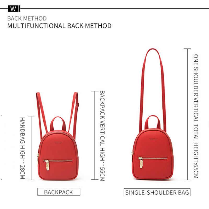 Weichen kadın Mini sırt çantası yumuşak Pu deri bayan sırt çantası küçük fermuarlı bayan sırt çantası genç kız seyahat sırt çantaları