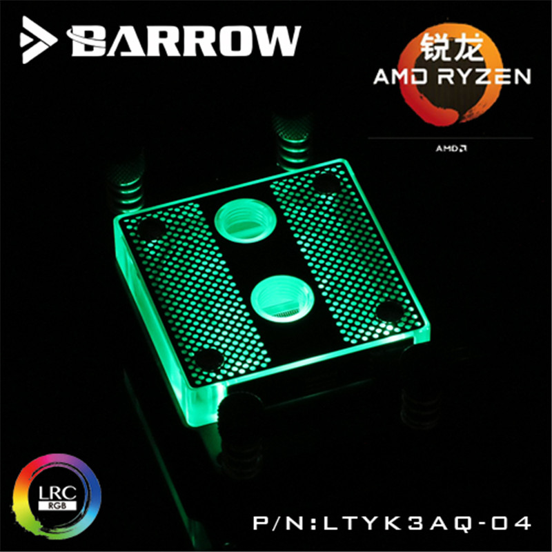 Barrow Hole Edition AMD RYZEN AM4 CPU Water Block (Acrylic) 0.4MM Micro Channel bykski multicol water cooling block cpu radiator use for amd ryzen am3 am4 acrylic cooler block 0 5mm waterway matel bracket