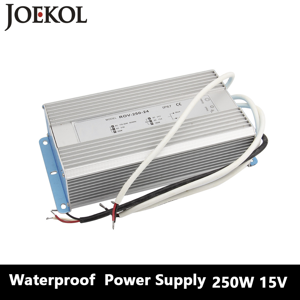 Led Driver Transformer Waterproof Switching Power Supply Adapter,,AC170-260V To DC15V 250W Waterproof Outdoor IP67 Led Strip power supply 24v 800w dc power adapter ac110 220v non waterproof led driver 33a ups for strip lamps wholesale 1pcs