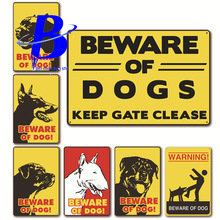 Placas Decorativas Metalicas Vintage Beware of Dog!  Tuinposter Buiten Labradoodle Caution Dogs Size:20*30cm