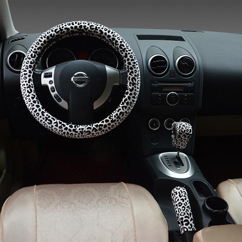 Леопардовый принт, автомобильный чехол на руль, зимний плюшевый тормоз, комплект - Название цвета: Белый