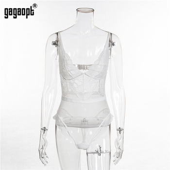 Gagaopt 8 Colors Lace Bodysuit Women Floral Embroidery White/Black Sexy Bodysuit Backless Mesh Bodysuit Jumpsuit Overalls 11