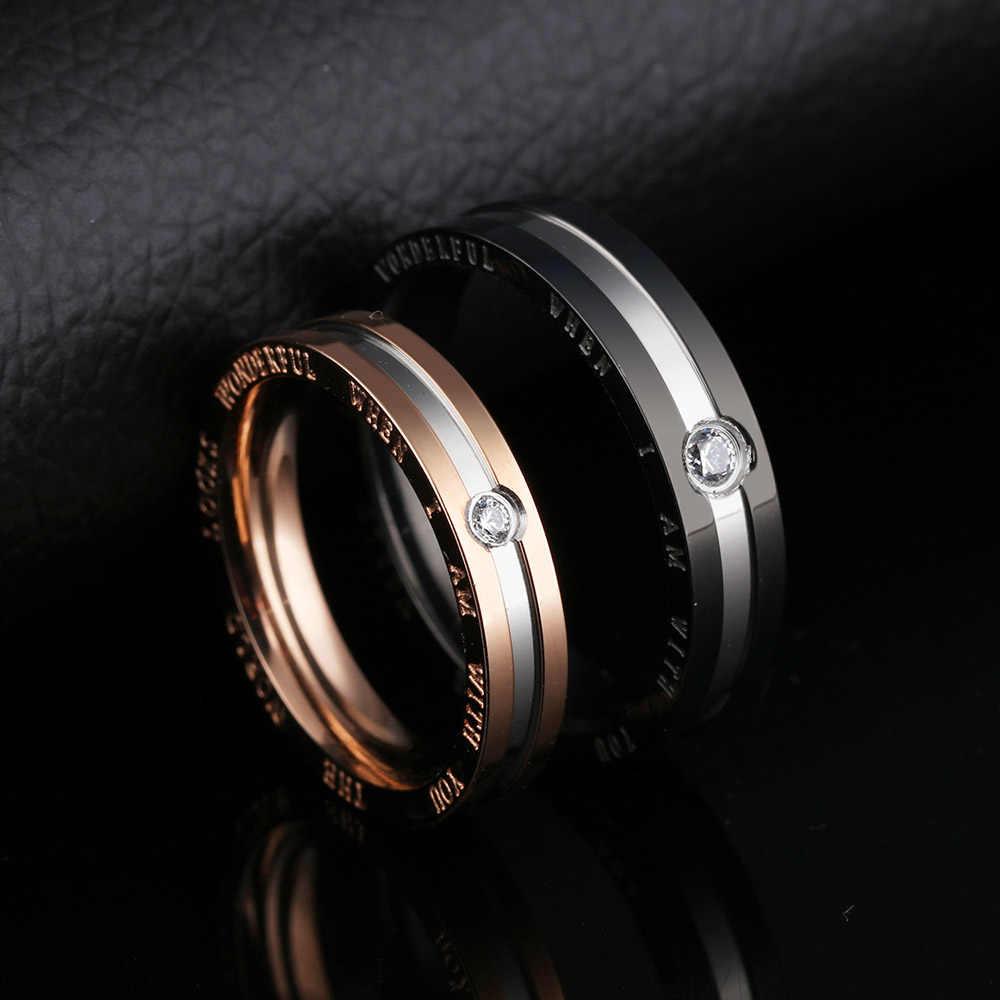 Lokaer anneaux de mariage en acier inoxydable pour amoureux romantiques classique AAA zircon cubique femmes hommes Couple anneau bijoux cadeau