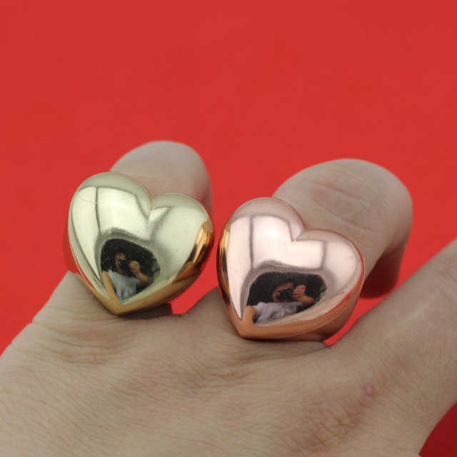 2017 New Fashion Ring Women Men s Jewelry Gold Rosr Gold Heart