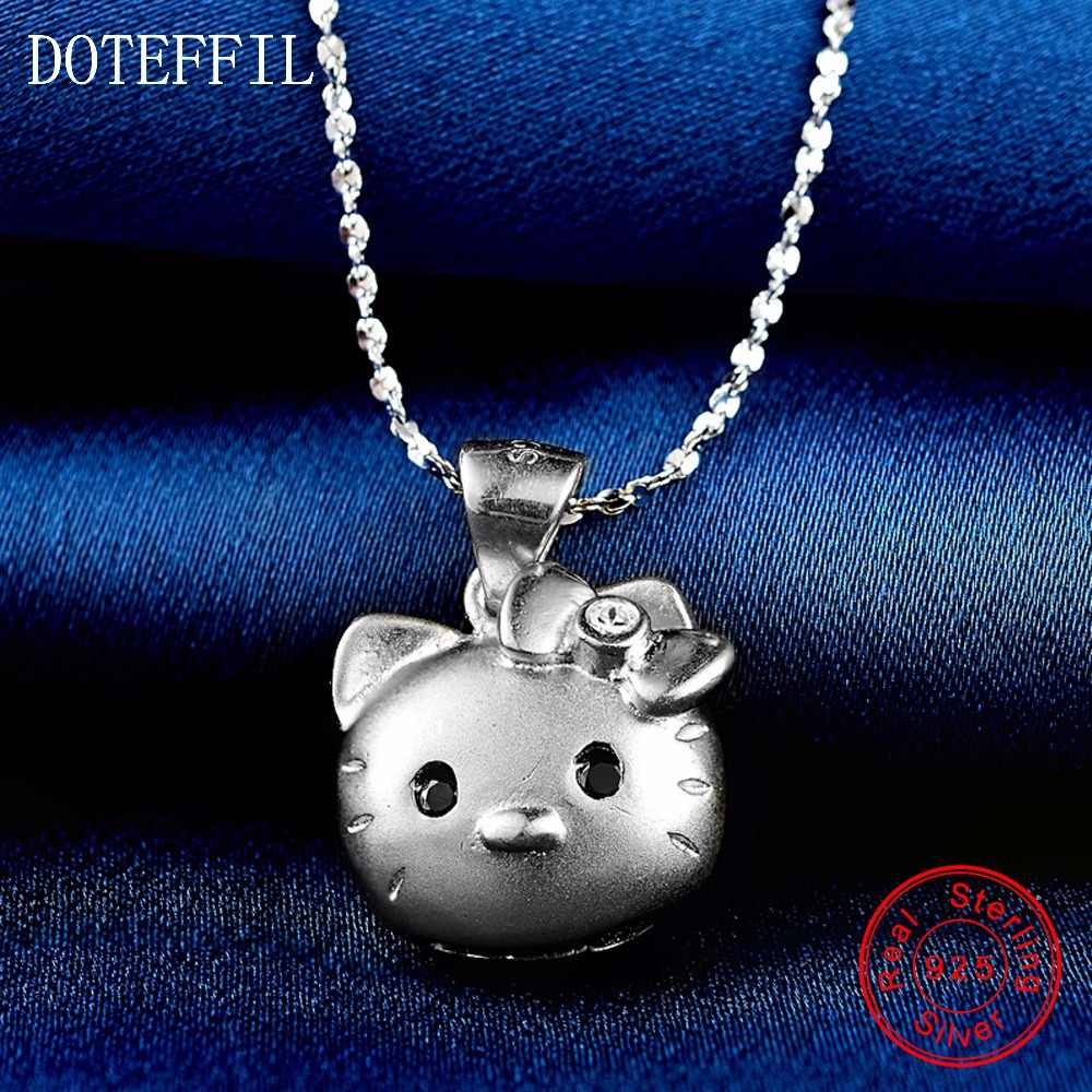 925 srebro zwierząt wisiorek z kotem naszyjnik moda damska kreatywny łańcuch Chainbone urok srebrny naszyjnik kobiet