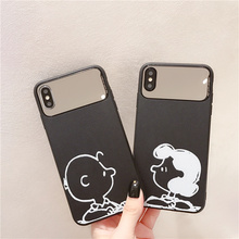 Women makeup mirror case for iphone x xr xsmax funda cute Charlie Lucy litchi veins coque on 6 6s 7 8 plus cover xs