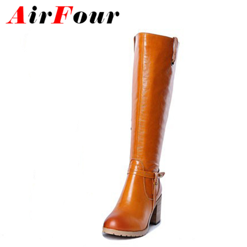 ФОТО Airfour Fashion Knight Boots Women Med Heels Knee High Boots for Women Sexy Warm Long Boot Winter Shoes Motorcycle Boots New
