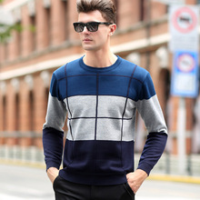 Plaid Color Pullover Men O-Neck Sweater Men Long Sleeve Shirt Mens Sweaters Wool Casual Dress Brand Cashmere Knitwear Pull Homme