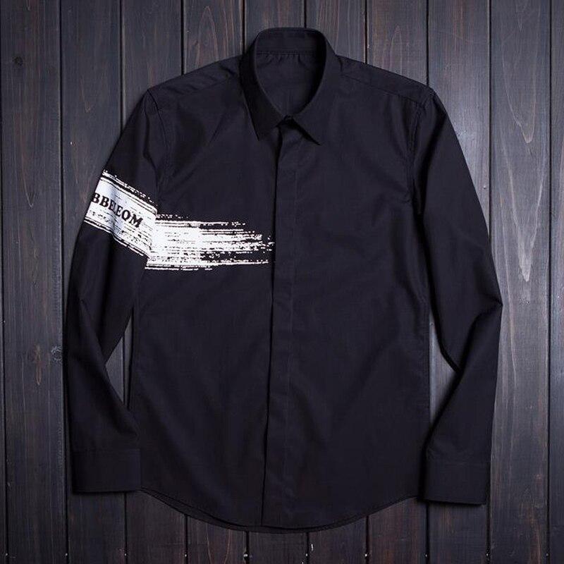 blanc 80 Mode Homme Manches Slim Brosse Hommes 2018 De Chemises Taille Noir Plus Fit Longues Haute À Chemise Qualité Motif Coton Automne wnT16qz