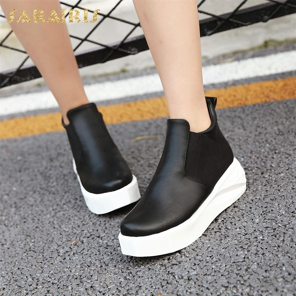 SARAIRIS Brand New Plus Size 34-43 leisure Boots Woman slip on casual Shoes Women Booties Winter women's Boots Woman sneaker 2017 brand new women short designer boots flat dress shoes woman gladiator big size cool rain booties outwear casual shoes