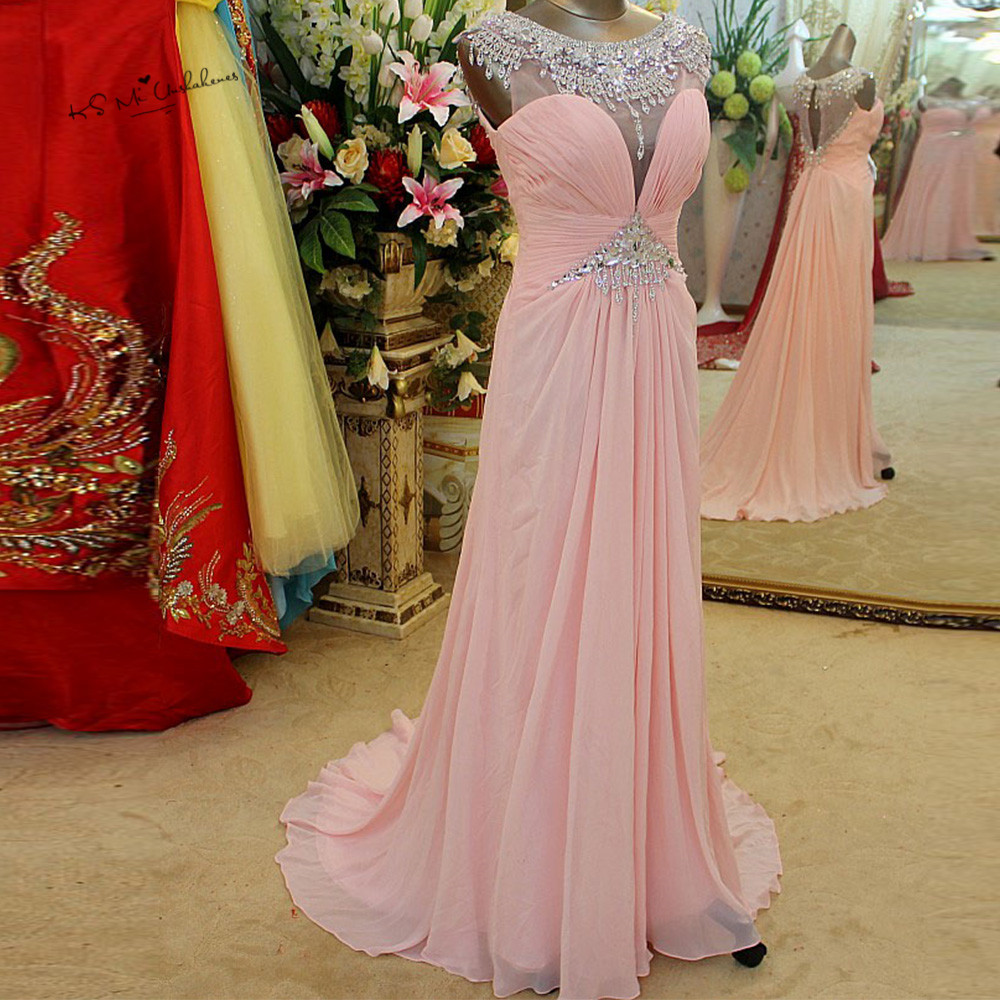 Robe de soirée Longue 2018 Abendkleider rose strass robes de soirée Longue fête Pageant femmes Vintage Robe de bal Cap manches