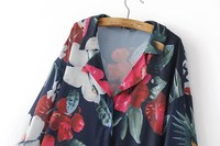 Hot Casual Tropical Romantic Printing Tailored Collar Blouse Women Elegant Long Sleeve Loose Shirt Tops