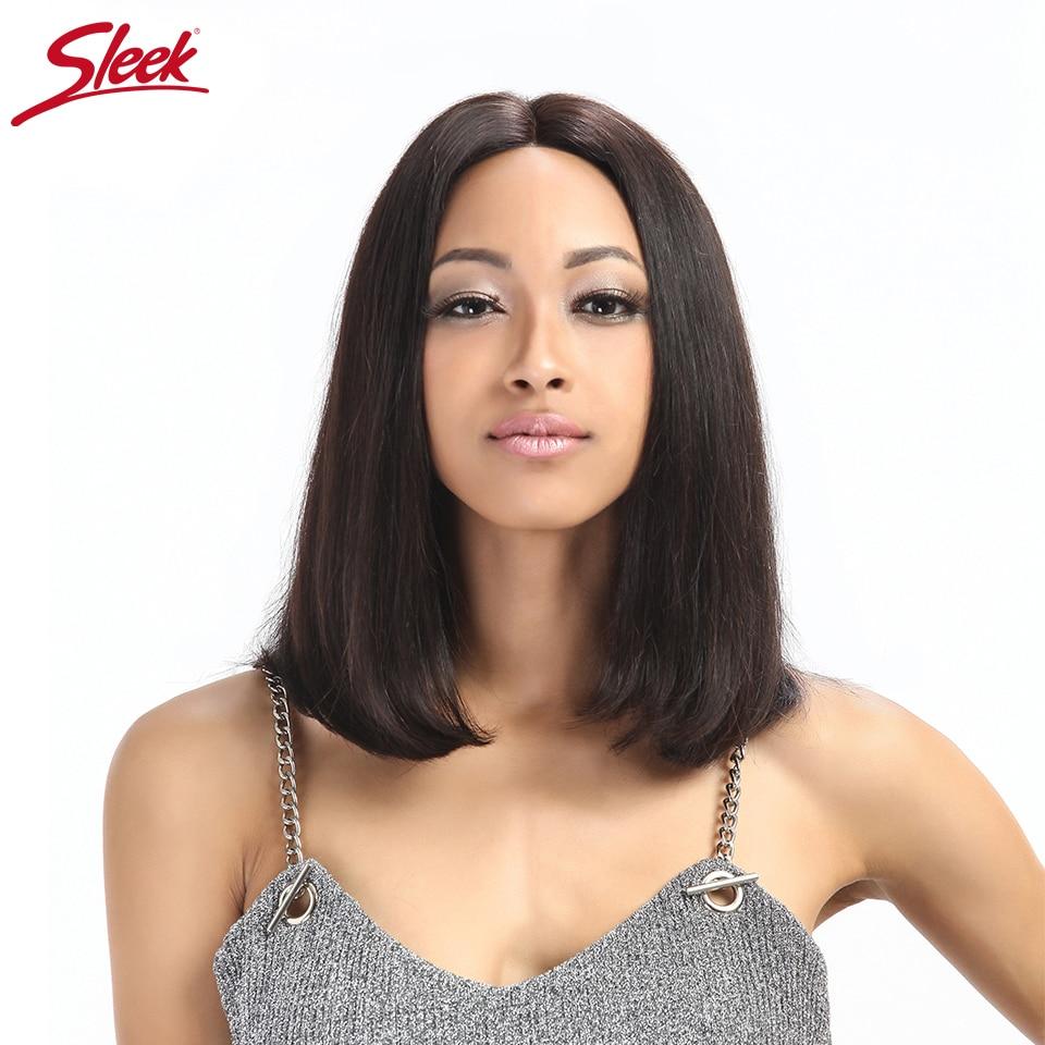 Sleek короткие Синтетические волосы на кружеве человеческих волос парики для черный Для женщин натуральный Цвет 10 до 12 дюймов бразильский Рем...