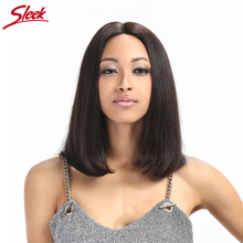 Sleek Short Lace Front Human Hair Wigs For Black Women Natural Color 10 to 12 Inch Brazilian Remy Straight Hair Half Bob Wig