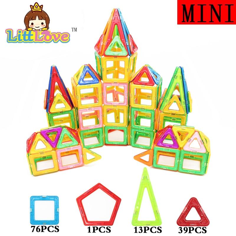 ФОТО MylitDear 129 PCs Mini Size Castle Enlighten Educational Construction Magnetic Building Blocks Bricks Toys for Children