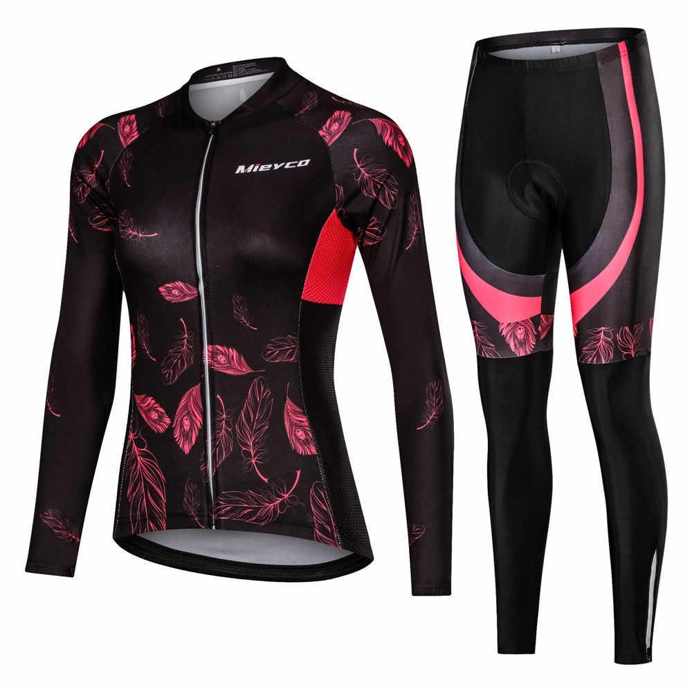 Femmes cyclisme vêtements cyclisme ensembles vélo uniforme femme à manches longues cyclisme maillot ensemble route vélo maillots vtt vêtements de vélo
