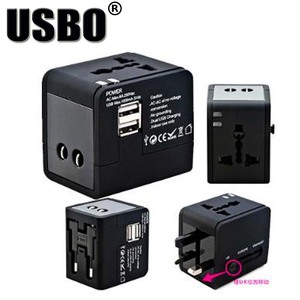 Image 2 - Black White global Universal Plug Adapter double USB 5V 2.1A Port travel AC Power Adaptor with AU US UK EU plug socket converter