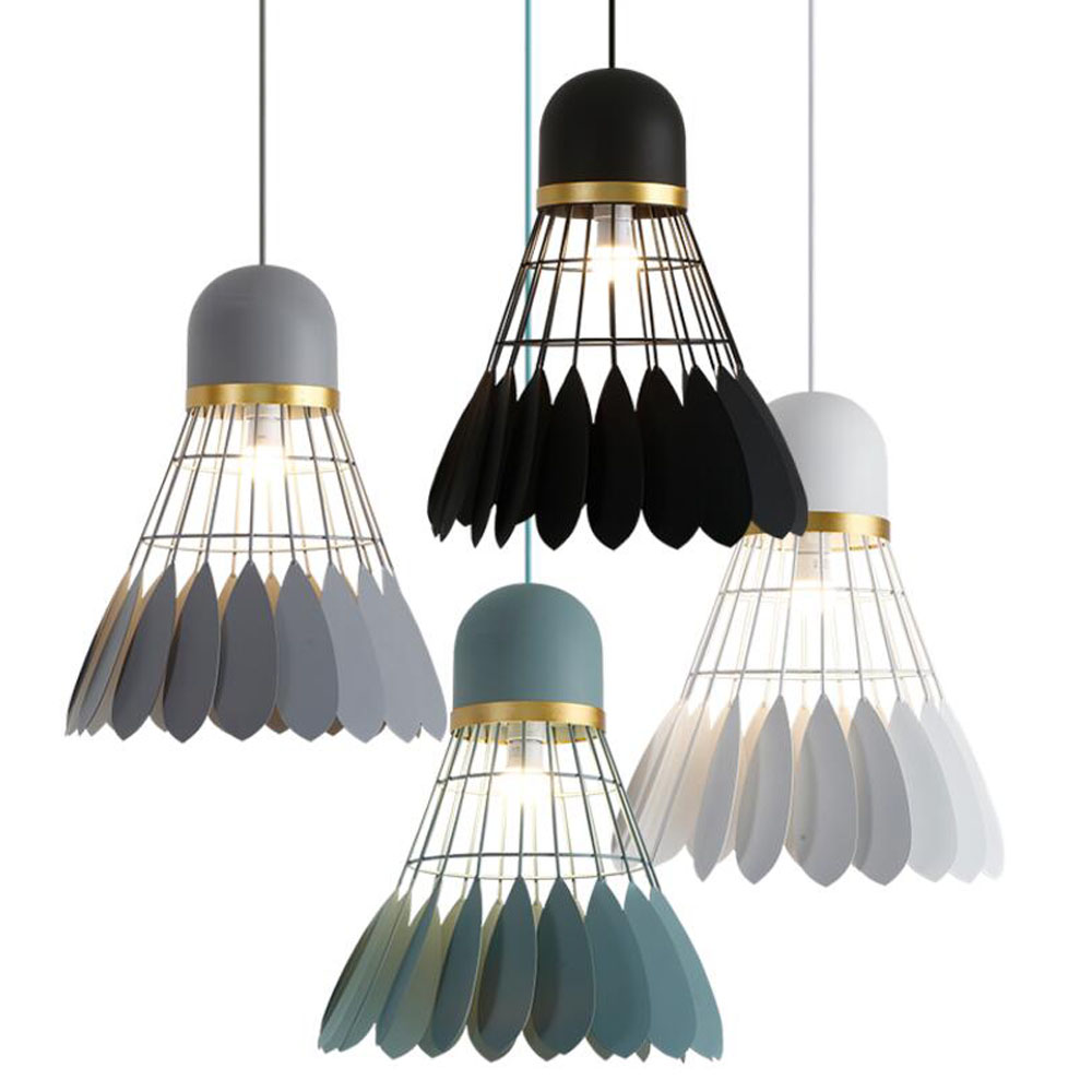 Nordic Badminton iron pendant lights modern white/black/gray/green macarons hanging lamp for dining room restaurant bar lighting цена