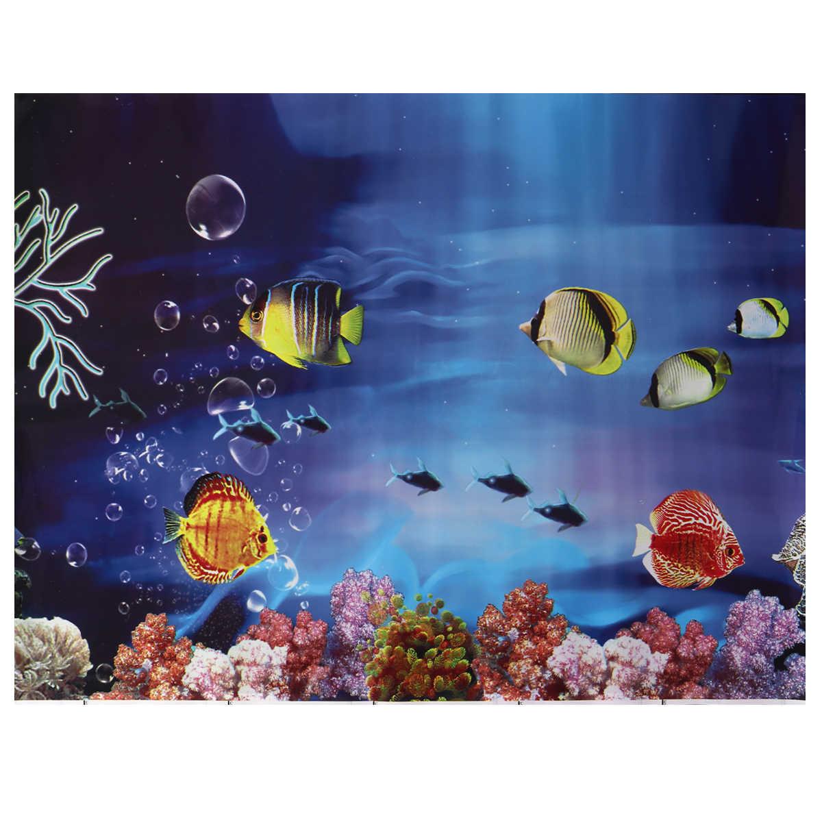 1PC 3D Aquarium Ikan Tangki Latar Belakang Stiker Perekat Wallpaper Tangki Ikan Dekorasi Gambar Bawah Air Latar Belakang Gambar Dekorasi