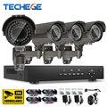 Techege 4CH 1080 P AHD DVR Системы ВИДЕОНАБЛЮДЕНИЯ sony imx322 2400TVL датчик 2.0MP AHD Камеры 2.8-12 мм зум-объектив Комплекты Видеонаблюдения